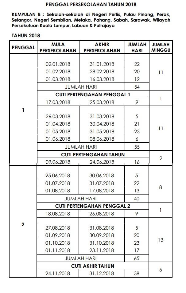 Kalender 2018 Cuti Sekolah